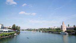 Sevilla River 4k 00 stock footage