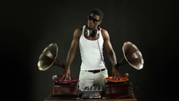 cool dj with gramophones 4k Footage