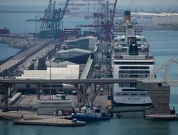 barcelona commercial harbour mediterranean coast Footage