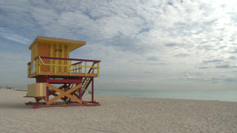 Lifeguard stand on South Beach Footage