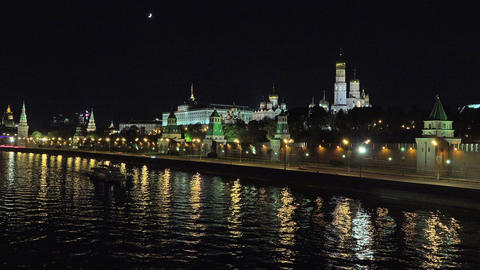 Moscow Kremlin night extreme long timelapse Footage