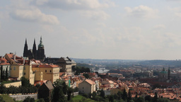 Panoramic view on Prague. St. Vitus Cathedral on t Footage