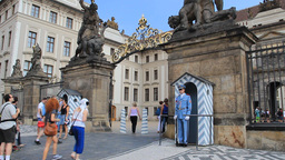Prague. Guards and entrance to the Prague Castle Footage