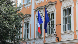 Flag of France and European Union on a French Emba Live Action