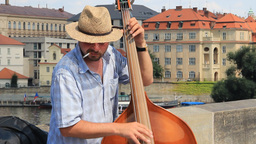 Prague. Band Playing Music On The Charles Bridge stock footage