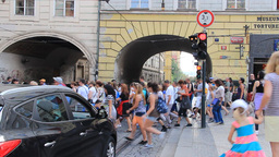 Tourists in Prague. Busy street in Prague and crow Footage