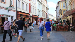 Beautiful street in the old town in Prague. Czech  Live Action