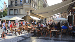 Prague. Restaurant in the old town Live Action