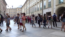 Tourists at the courtyard of the Prague Castle in  Footage