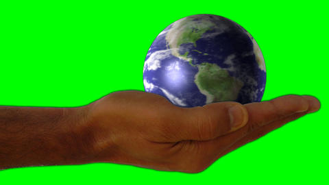 world universe digital company business internet hands holding earth globe green screen Animation