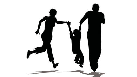 running family with hanging child Stock Video Footage