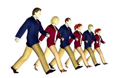 6 business people marching looping Animation