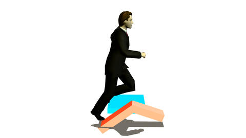 businessman runs under diagramme upwards Stock Video Footage
