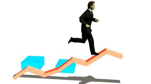 businessman runs under diagramme upwards Animation