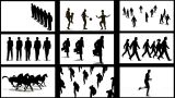 Many Screens With Silhouettes stock footage