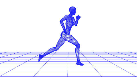 wire woman running loop Animation