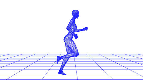 wire woman running loop Stock Video Footage