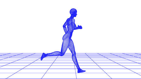 wire woman running loop Stock Video Footage