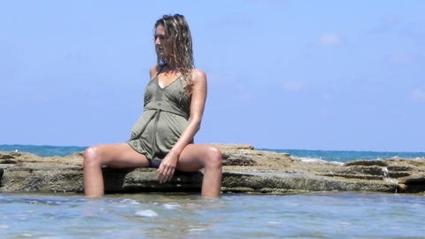 Sexy beautiful luxury Beach pretty girl sunlight blue... Stock Video Footage