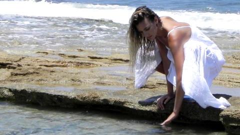 Sexy beautiful luxury Beach pretty girl sunlight blue... Stock Video Footage