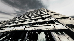 Abandoned Building Clouds Timelapse 02 Stock Video Footage
