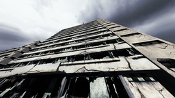 Abandoned Building Clouds Timelapse 04 Stock Video Footage