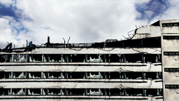 Abandoned Building Clouds Timelapse 08 Stock Video Footage