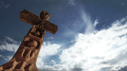 Aztec Maya Inca Cross Clouds Timelapse 01 Stock Video Footage