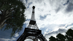 Eiffel Tower Clouds Timelapse 01 Stock Video Footage