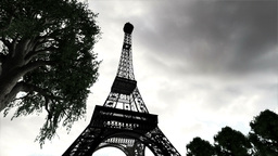 Eiffel Tower Clouds Timelapse 03 Animation