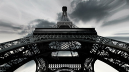 Eiffel Tower Fisheye Clouds Timelapse 02 Animation