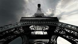 Eiffel Tower Fisheye Clouds Timelapse 02 Stock Video Footage