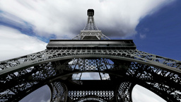 Eiffel Tower Fisheye Clouds Timelapse 04 Stock Video Footage
