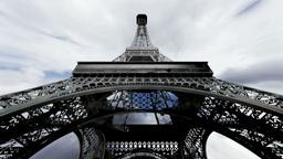 Eiffel Tower Fisheye Clouds Timelapse 04 Stock Video Footage