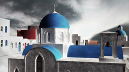 Greek Village Clouds Timelapse 02 Stock Video Footage