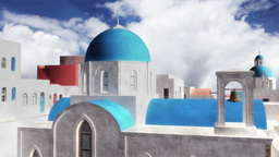 Greek Village Clouds Timelapse 04 Stock Video Footage