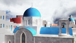 Greek Village Clouds Timelapse 04 Stock Video Footage