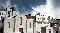 Greek Village Clouds Timelapse 06 Stock Video Footage