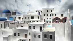 Greek Village Clouds Timelapse 10 Stock Video Footage