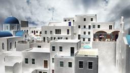 Greek Village Clouds Timelapse 10 Stock Video Footage