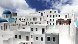 Greek Village Clouds Timelapse 12 Stock Video Footage
