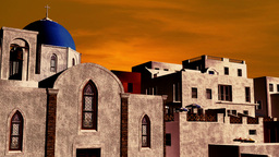 Greek Village Sunset 08 pan Animation