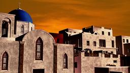 Greek Village Sunset 08 pan Stock Video Footage