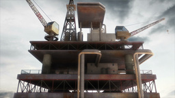 Oil Tower Clouds Timelapse 02 Stock Video Footage