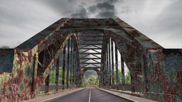 Rusty Bridge Clouds Timelapse 02 Stock Video Footage