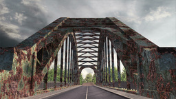 Rusty Bridge Clouds Timelapse 02 Stock Video Footage