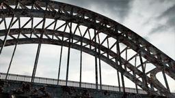 Rusty Bridge Clouds Timelapse 06 Stock Video Footage