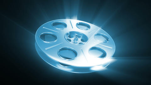 Spining Film Reel Blue with Shine Stock Video Footage