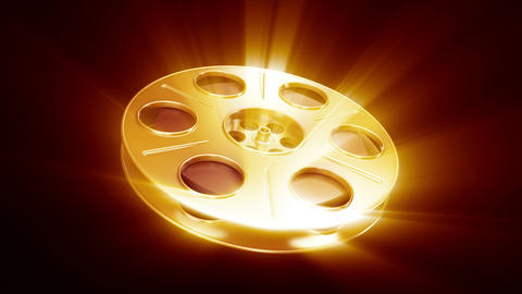 Spining Film Reel Golden with Shine Animation