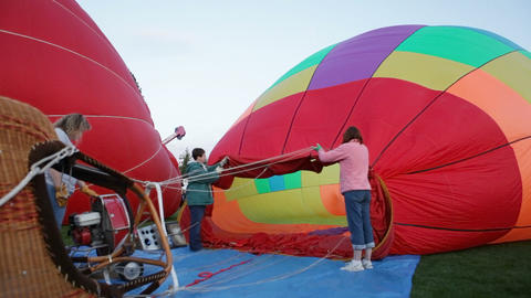 Inflating a hot air balloon Footage